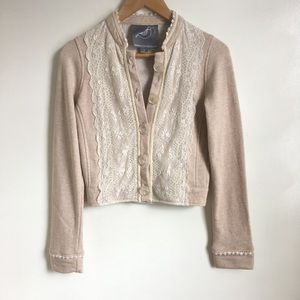 Anthro knotted dove lace cream cardigan